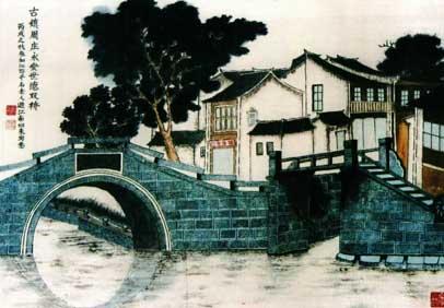 水墨画江西吉安风景