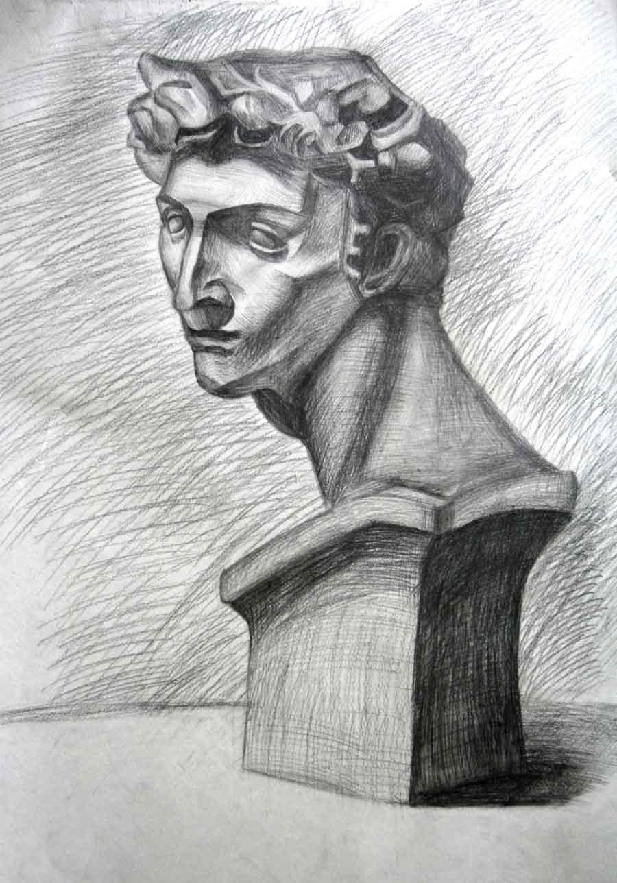 """2009年初,素描作品《石膏头像》刊登在由""""中国出版集团现代教育出版"""